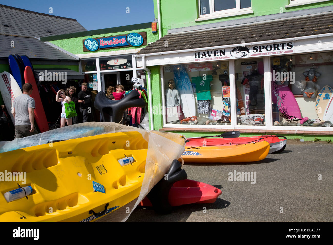 Watersports shop Broad Haven Pembrokeshire Wales - Stock Image