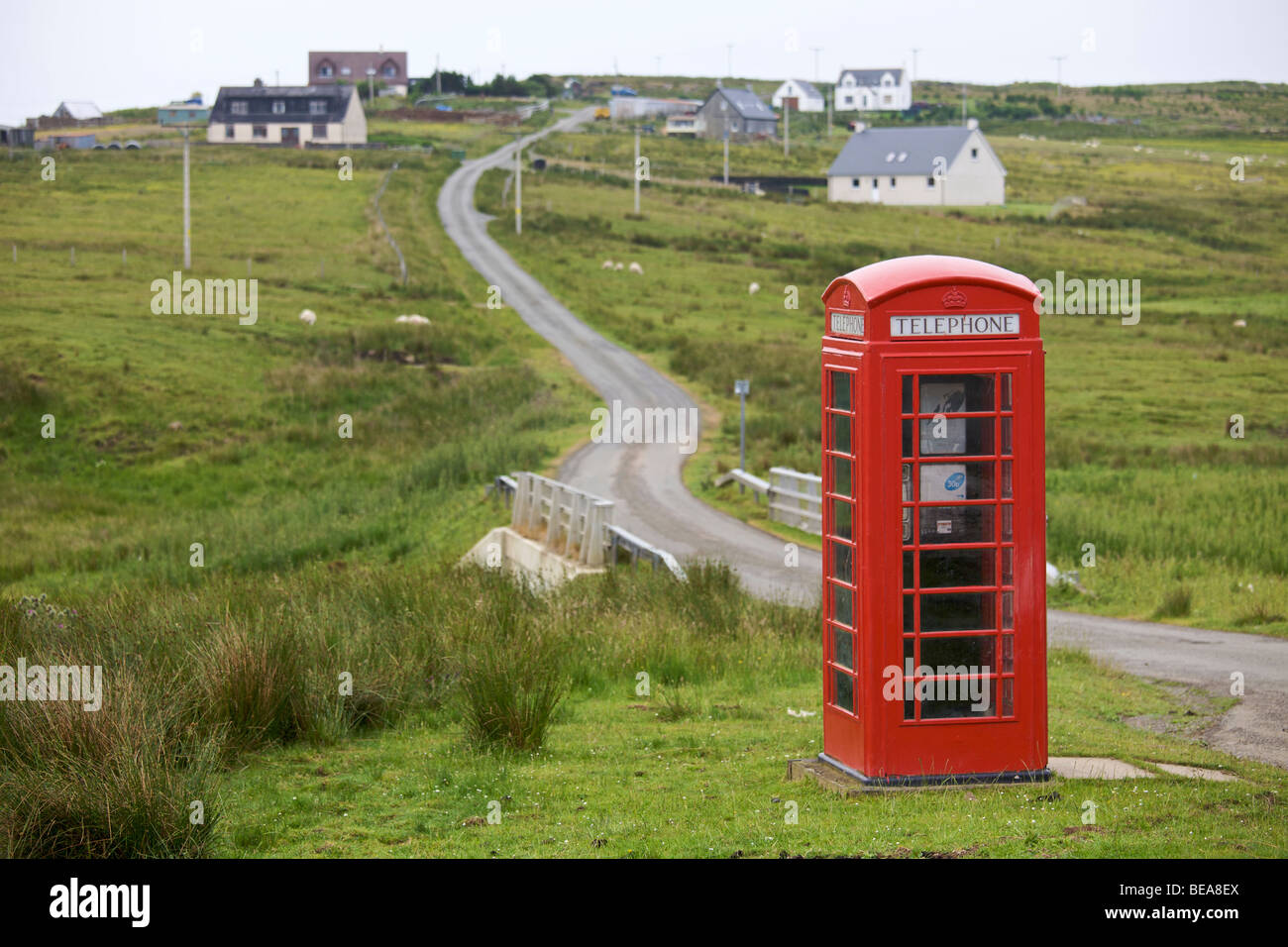 Telephone box in the Isle of Skye, Scotland - Stock Image