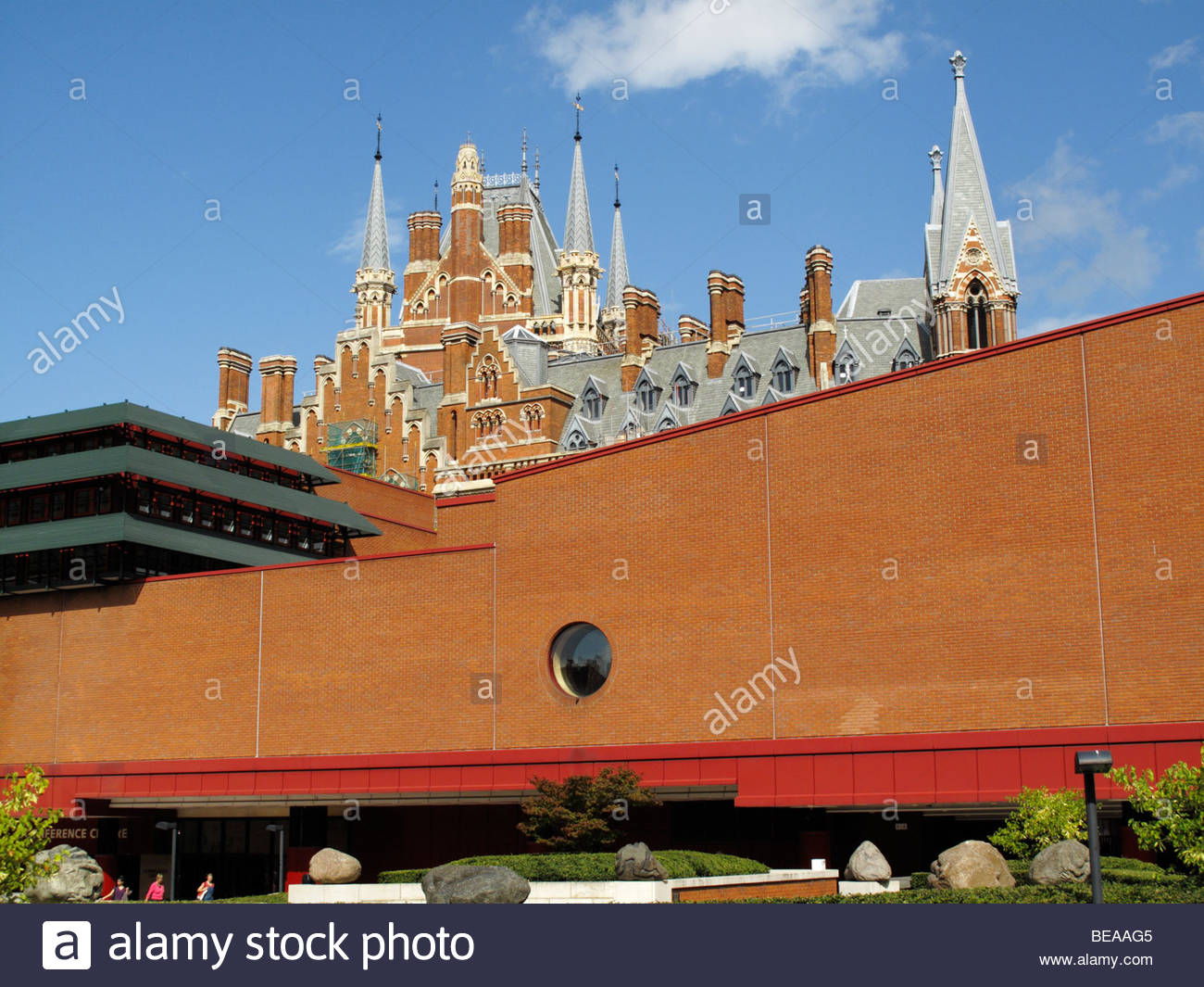 The British Library and St Pancras station, London - Stock Image