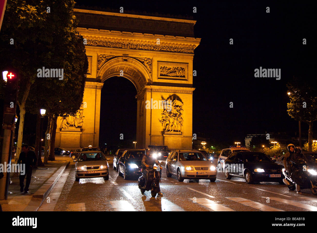 Arc de Triomphe and the Champs Elysee at night in Paris. Stock Photo