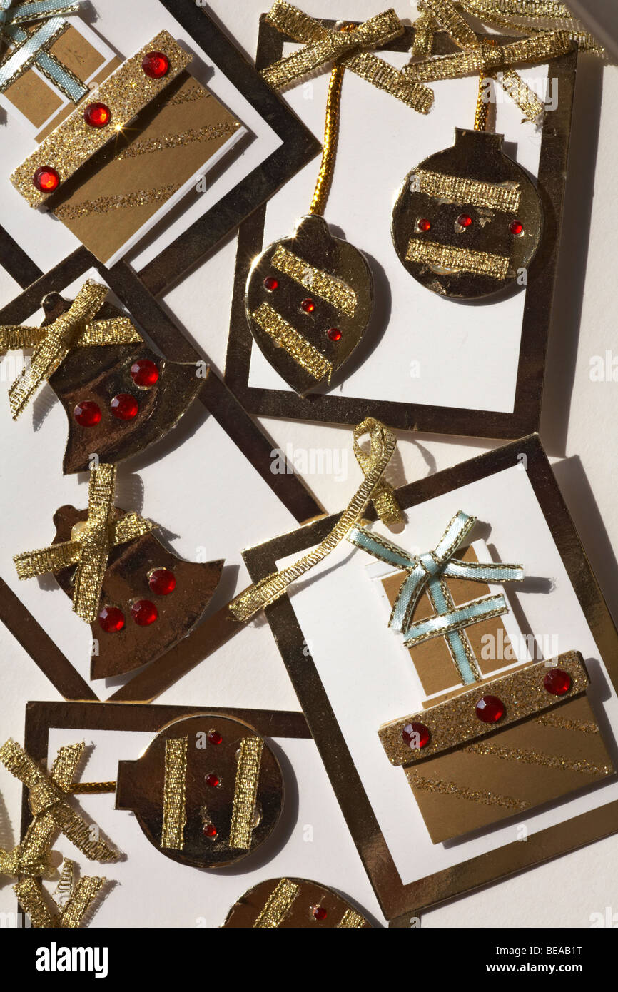 hand crafted Christmas gift tag labels - Stock Image