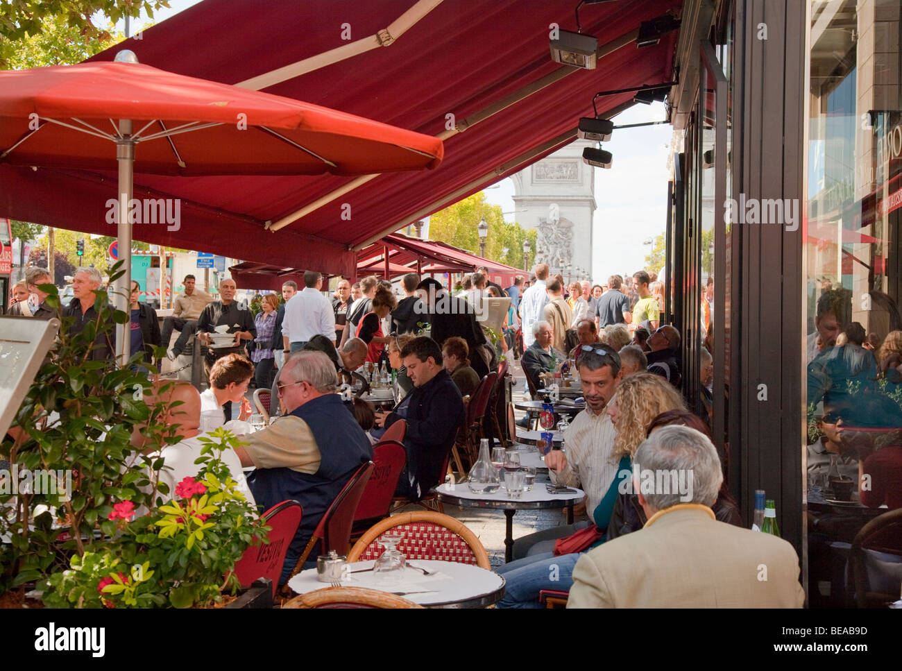 Cafes on the Champs Elysees in Paris - Stock Image