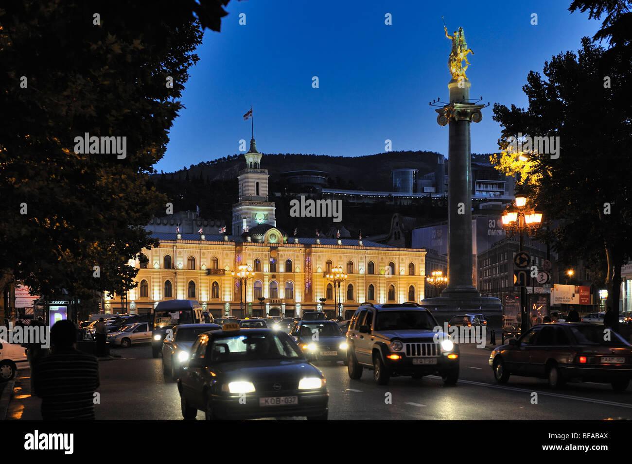 night shot of illuminated townhall or municipality of Tbilisi, Georgia Stock Photo
