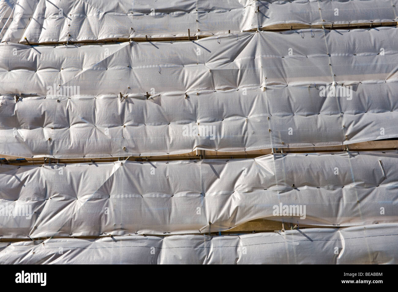 Building being renovated covered in plastic sheet Newport South Wales UK - Stock Image