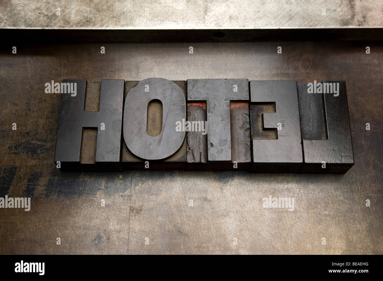 The word HOTEL written with wood letterpress letters - Stock Image