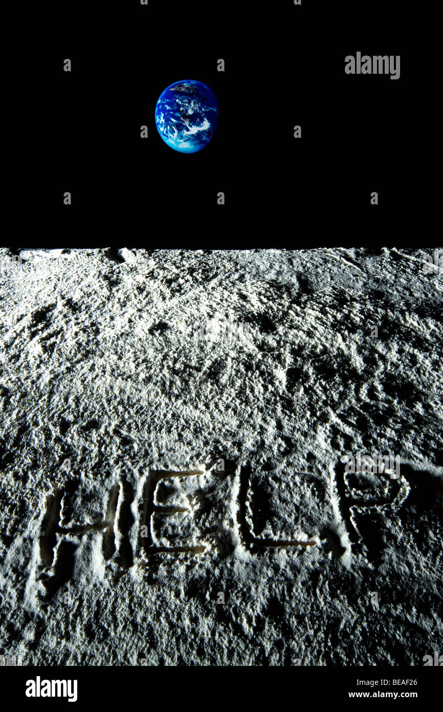 HELP message written on the surface on the moon - Stock Image