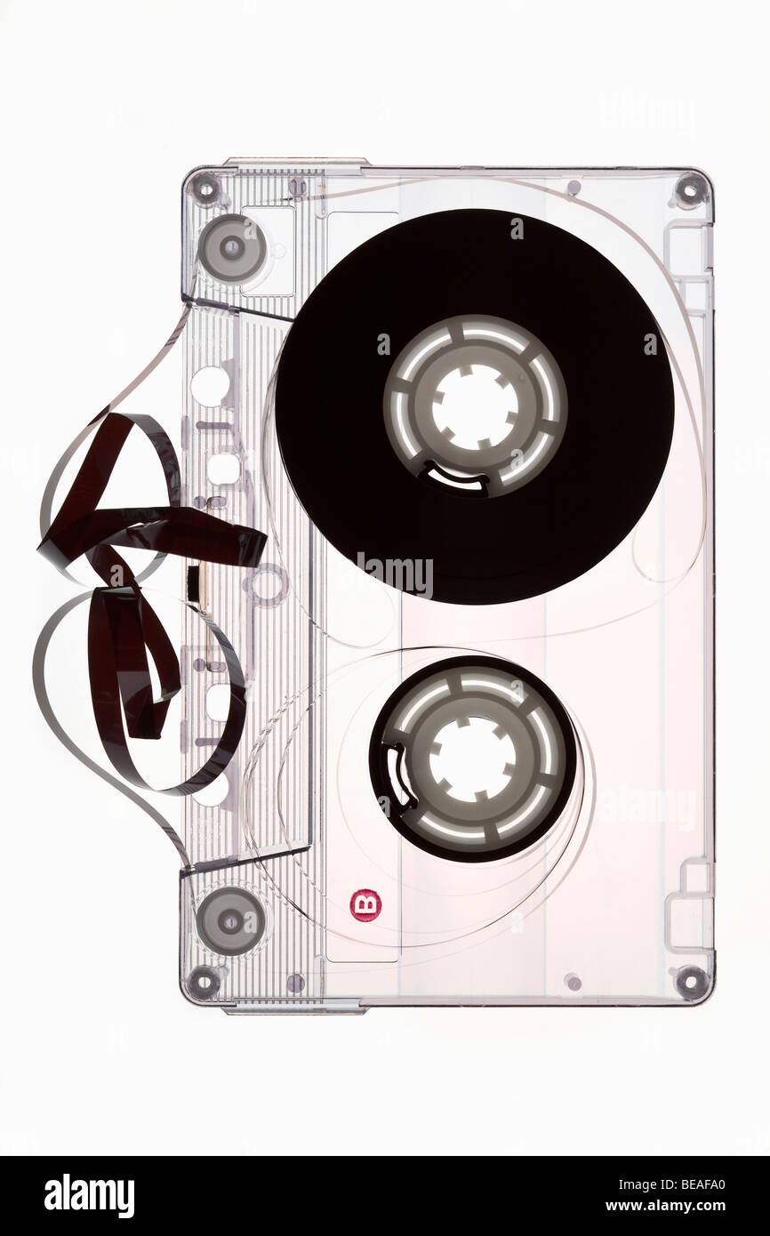 A cassette tape unraveled - Stock Image