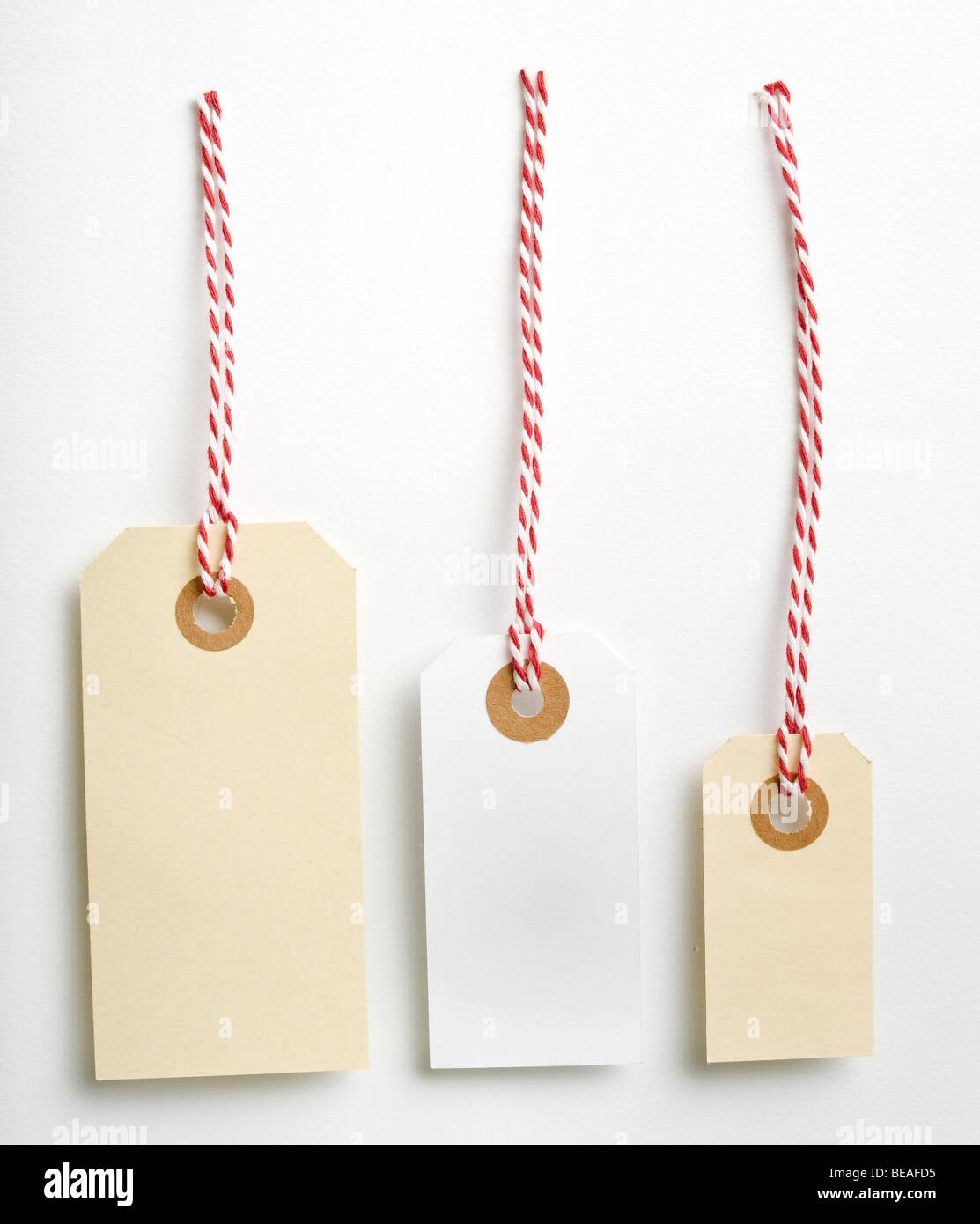 Three labels with a red and white rope isolated on white - Stock Image