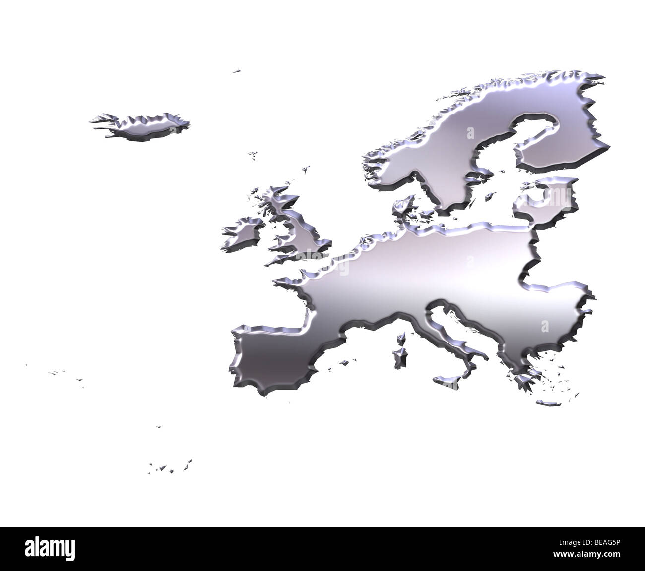 Europe 3d silver map - Stock Image