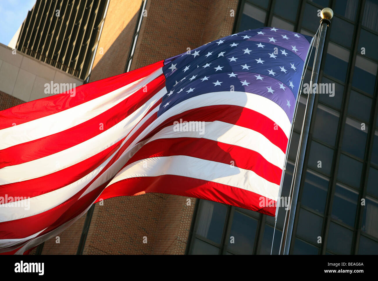 A fluttering American flag - Stock Image