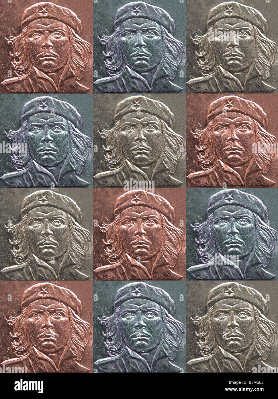 Original high resolution collage of Che Guevarra in shades of metallic red, blue and silver. By Jamie Marshall. - Stock Image