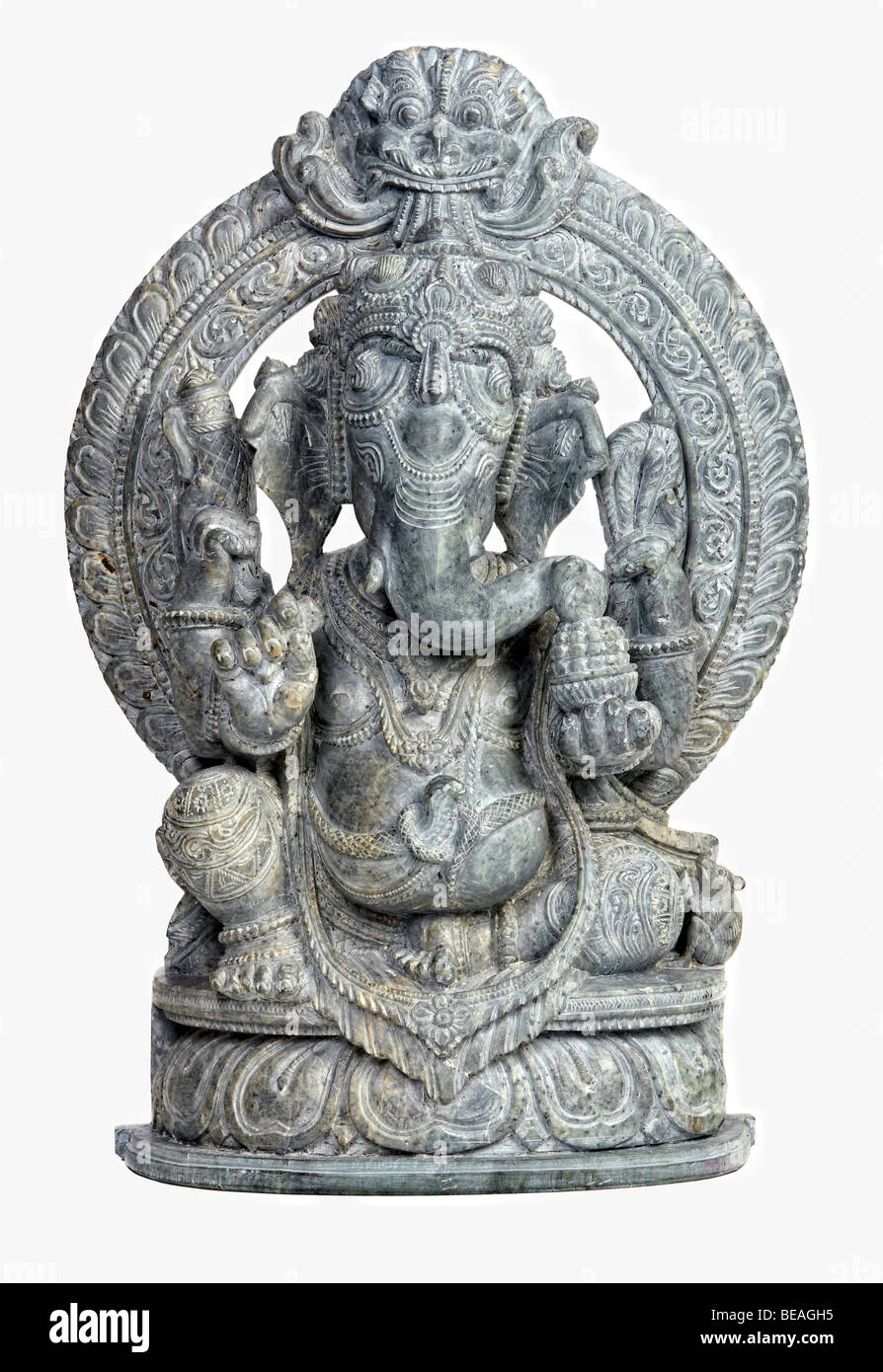 classi stone sculpture of indian god ganesh on white Stock Photo