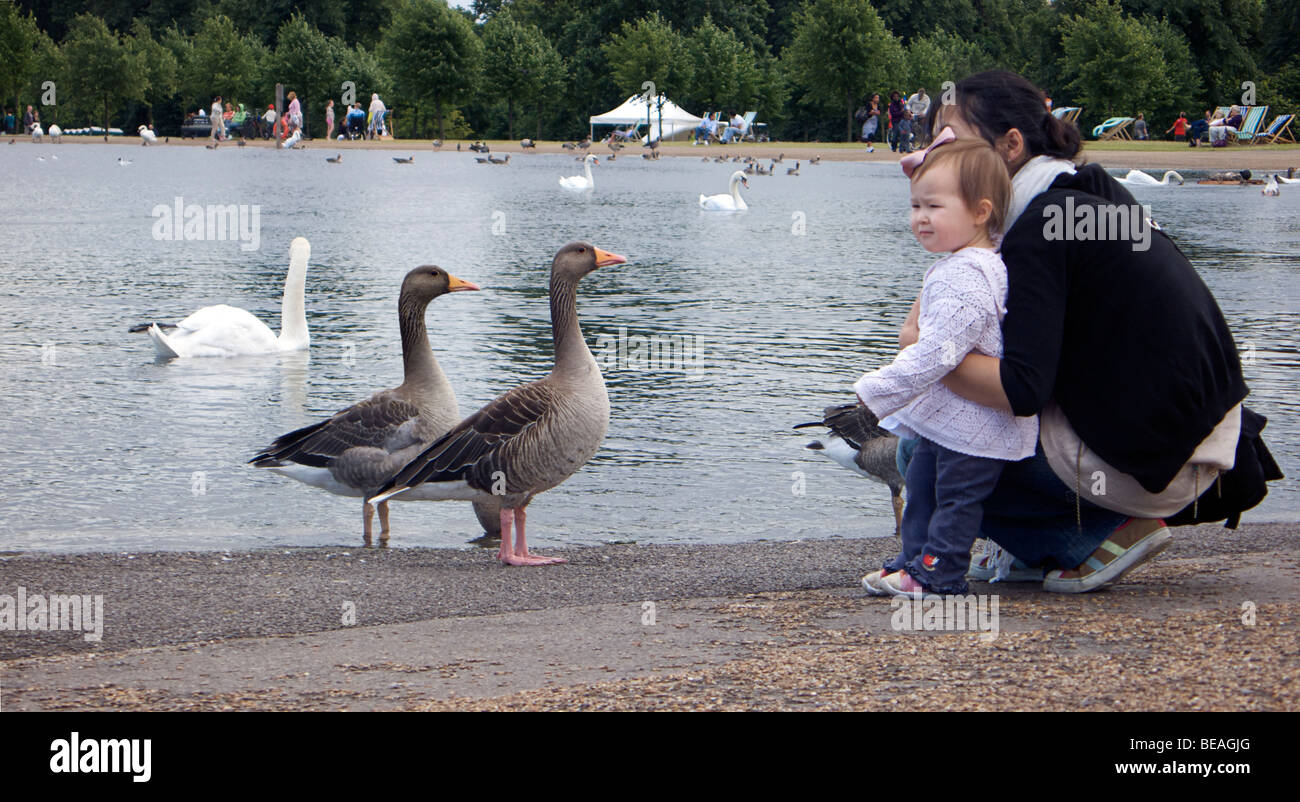 Mother and child on the shores of the boating lake in Hyde Park, London. England. Watching the ducks. - Stock Image