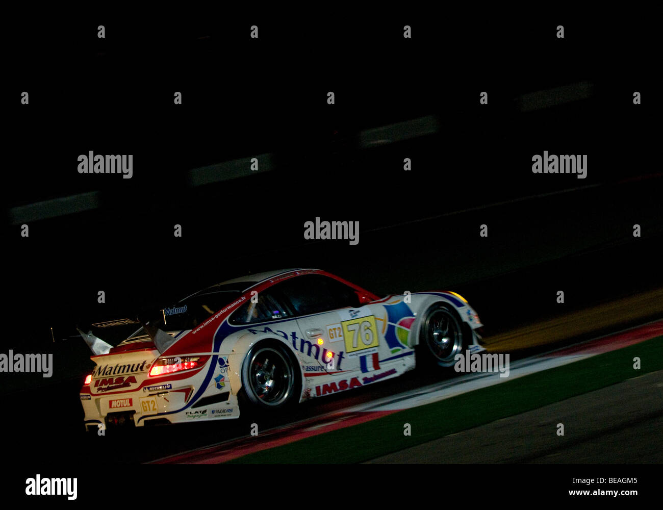 The Le Mans Series 1000km of the Algarve taking place during the night at the Autódromo Interncaional do Algarve, Stock Photo