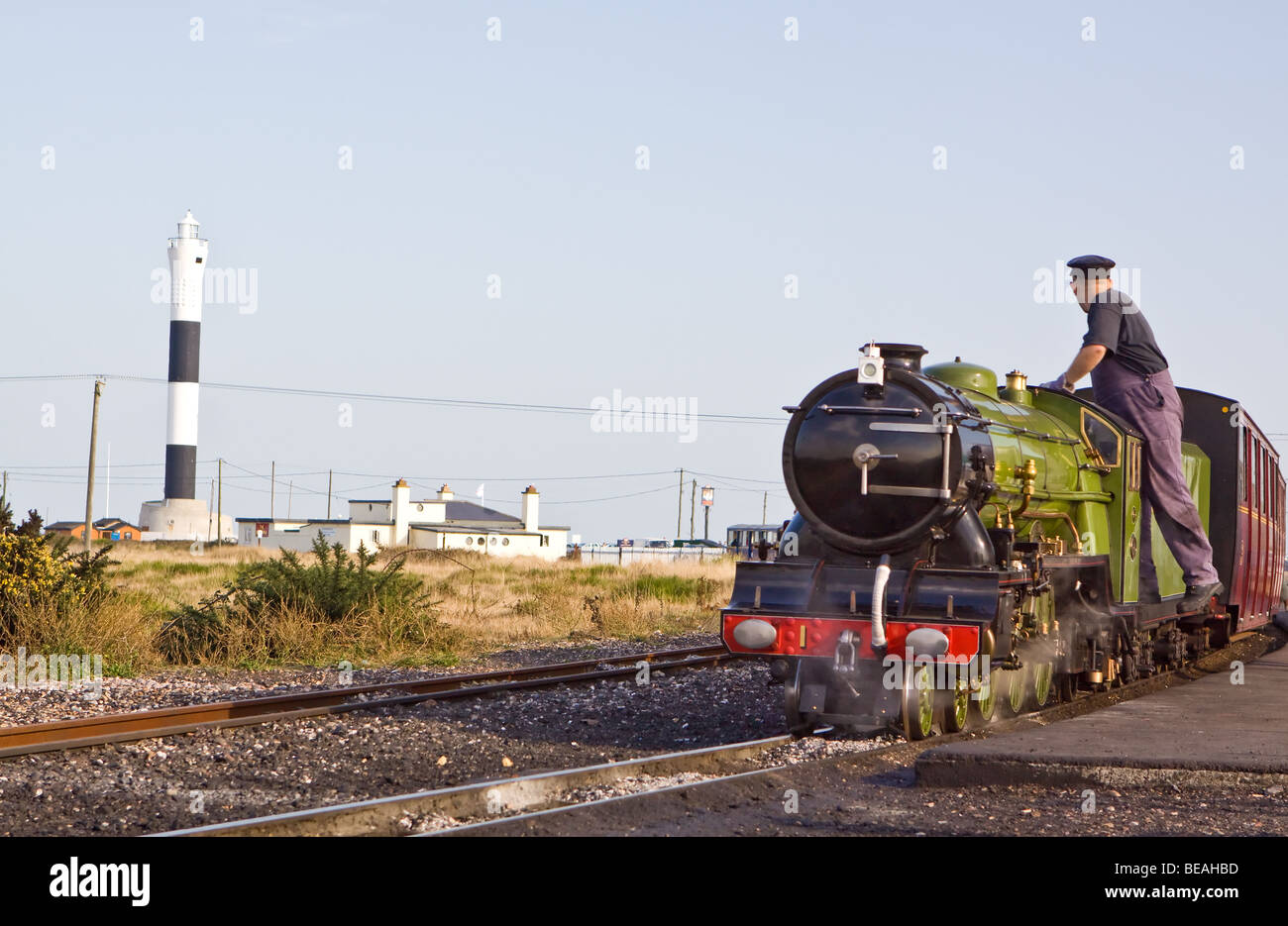 Green Goddess Engine No. 1 on the Romney Hythe and Dymchurch Railway at Dungeness - Stock Image