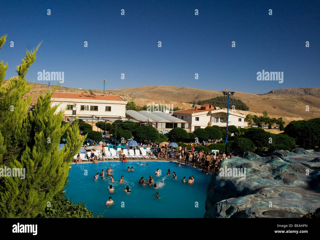 A water park just outside of Damascus on route to Beirut called Splash. Situated in a dry baron desert. - Stock Image