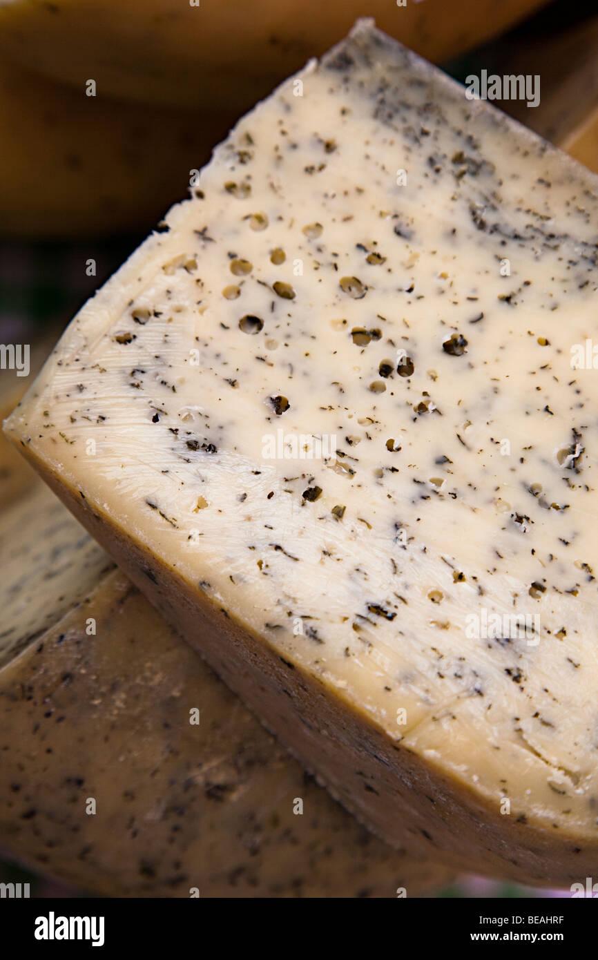 Teifi with nettles Welsh cheese UK Stock Photo