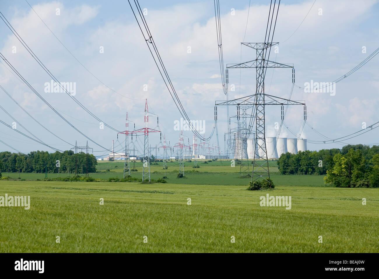 Landscape near atomic power plant in Jaslovske Bohunice, in Slovakia. - Stock Image