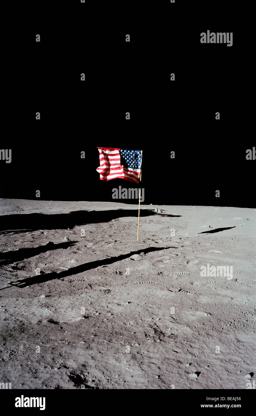 The United States flag on the lunar surface. Optimised and enhanced version of an original NASA image. Credit NASA - Stock Image