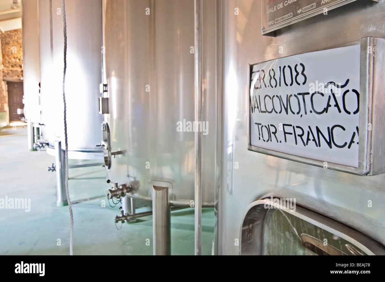 touriga franca sign on tank quinta do cotto douro portugal - Stock Image