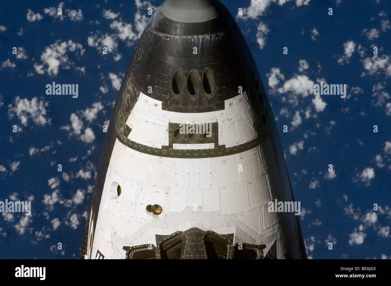 Nose of the Space Shuttle Enterprise photographed from above.  Optimised version of an original NASA image. Credit - Stock Image