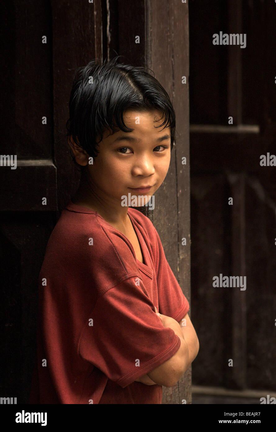 Portrait of a Nepalese boy Katmandhu, Nepal - Stock Image