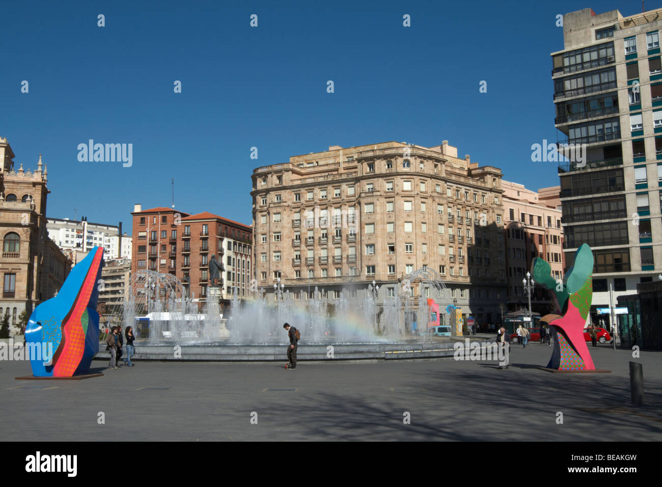 apartment buildings plaza zorilla Valladolid spain castile and leon - Stock Image