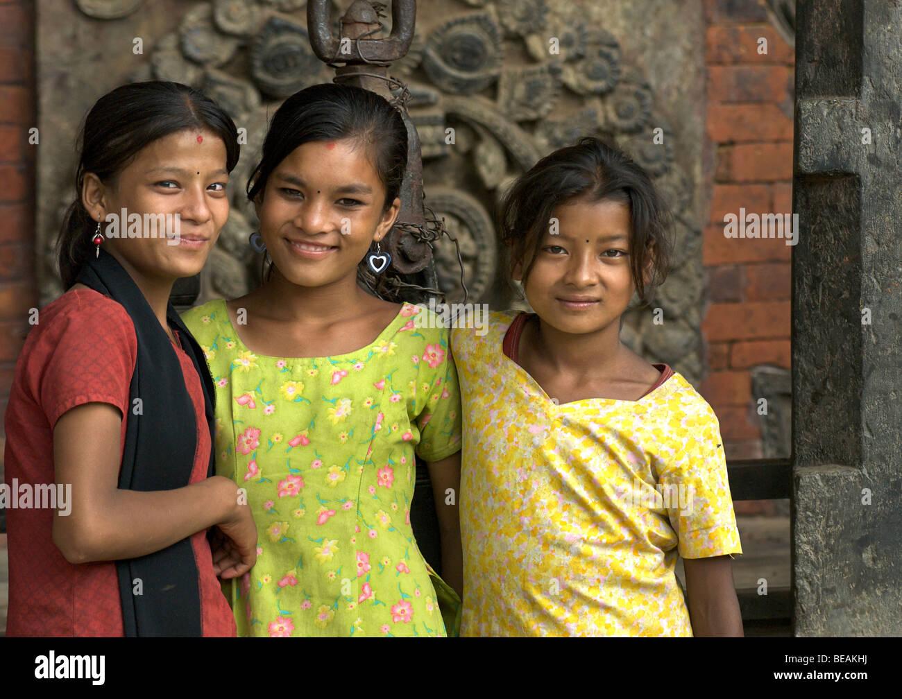 Neaplese girls., Friends, Kathmandhu, Nepal - Stock Image