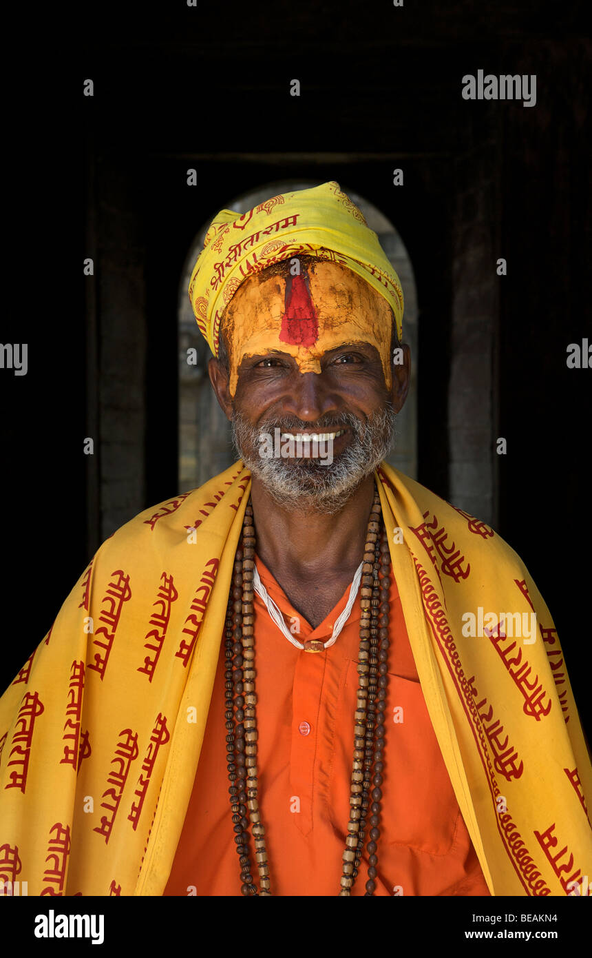 Portrait of a Nepalese sadhu or holy man with painted forehead, Kathmandhu, Nepal - Stock Image