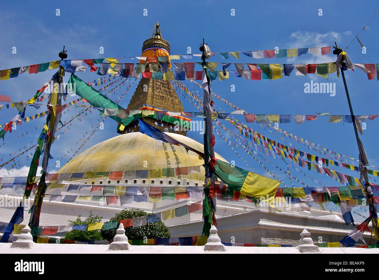 Bodhnath Stupa and prayerflags, Kathmandu, Nepal - Stock Image