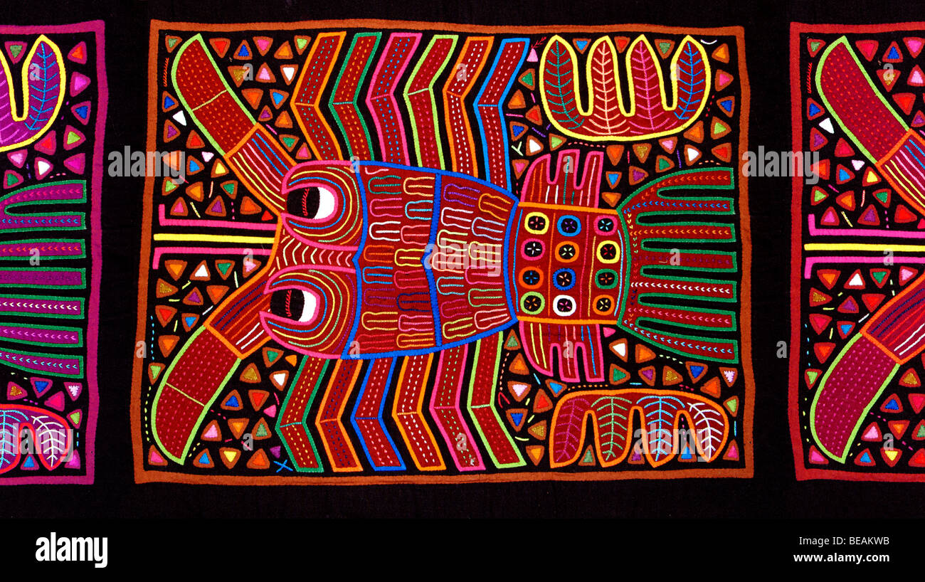 Appliqué decoration applied to blouses (Molas's) of the Kuna Indians, San Blas Islands, Panama. Lobster - Stock Image