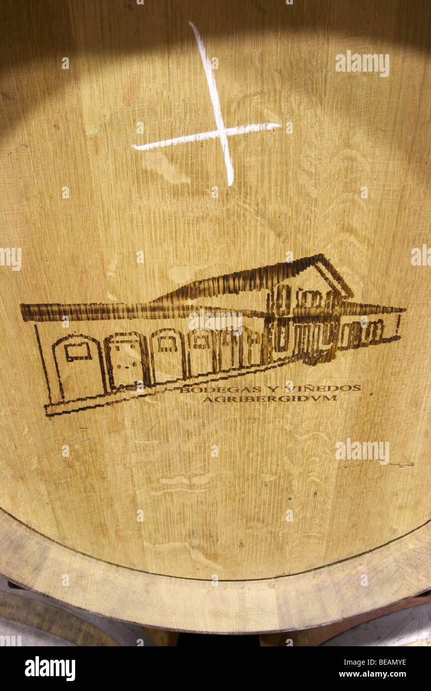 barrel with stamp Bodega Agribergidum, DO Bierzo, Pieros-Cacabelos spain castile and leon - Stock Image