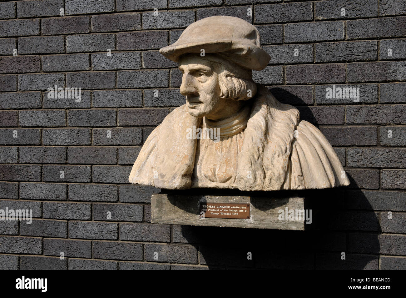 Thomas Linacre bust, St. Andrew s Place Medical Precinct, Royal College of Physicians, London England UK - Stock Image