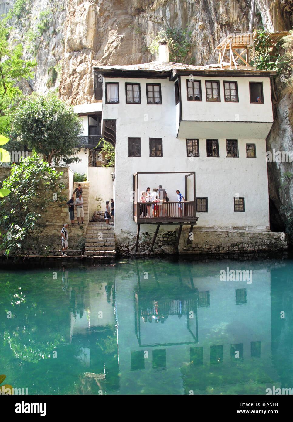 Bosnia and Herzegovina, Blagaj, 16th century Tekija, Dervish monastery on Buna river. About 15km southeast of Mostar. - Stock Image