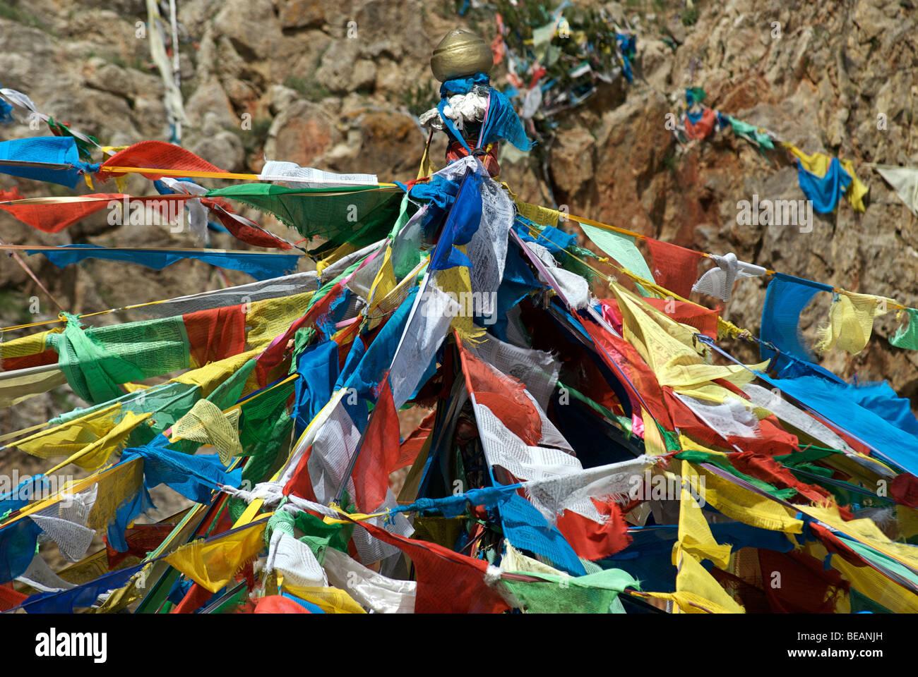 Prayerflags, Nam Tso Lake, Tibet - Stock Image