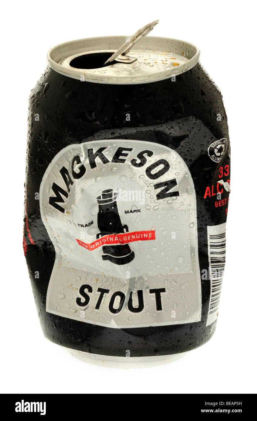 Crushed can of Mackeson Stout - July 2009 - Stock Image