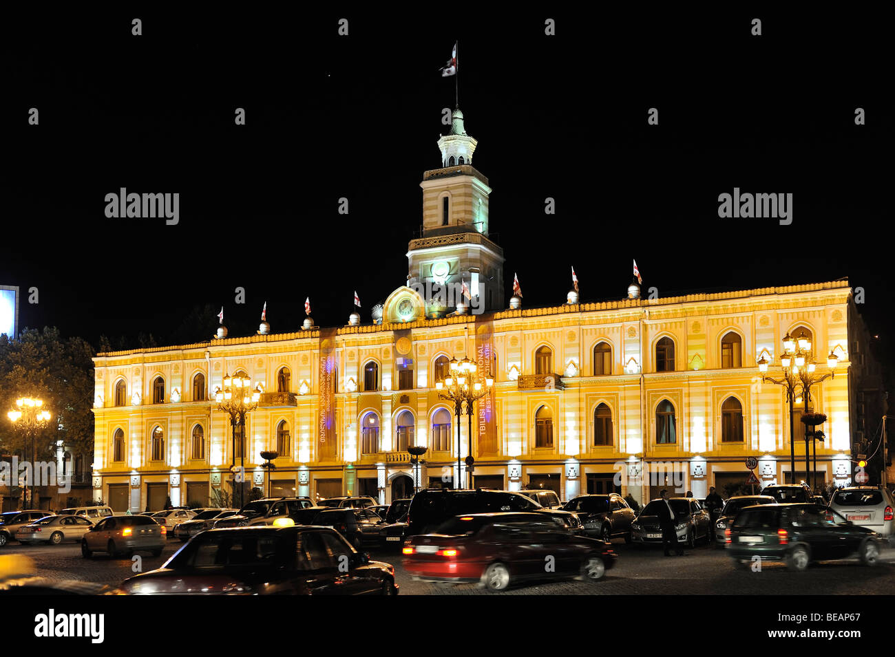 night shot of illuminated townhall or municipality of Tbilisi, Georgia Stock Photo