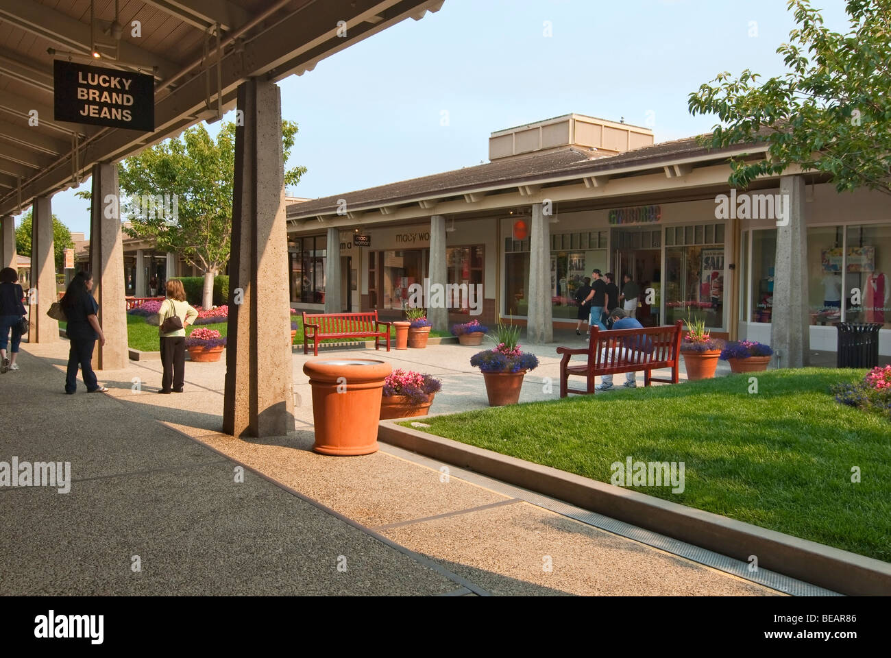 An outdoor shopping mall named the Del Monte Center located in Monterey, California. - Stock Image