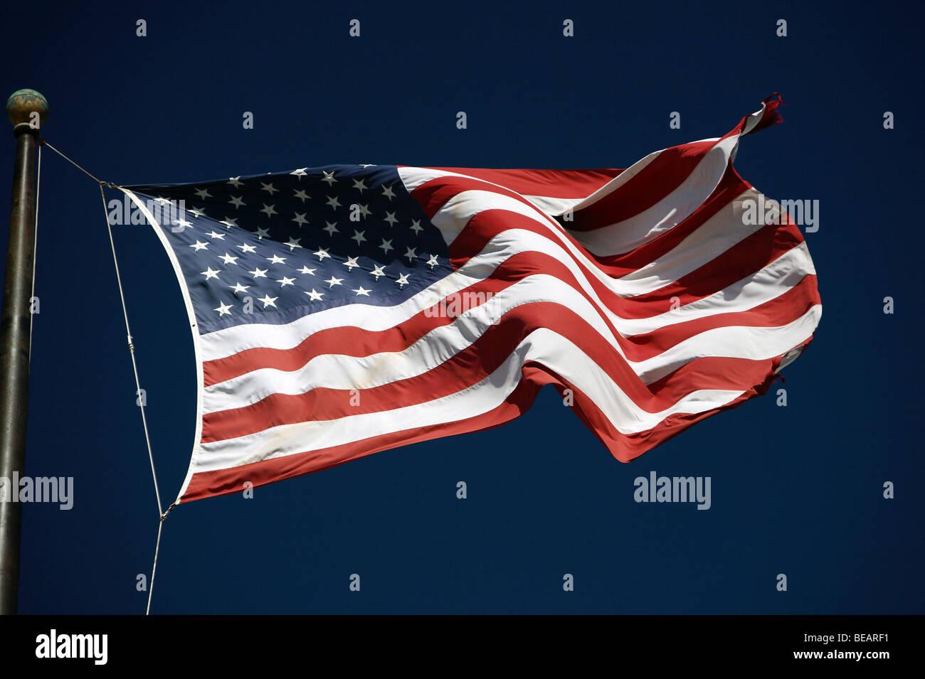 Fluttering American flag - Stock Image