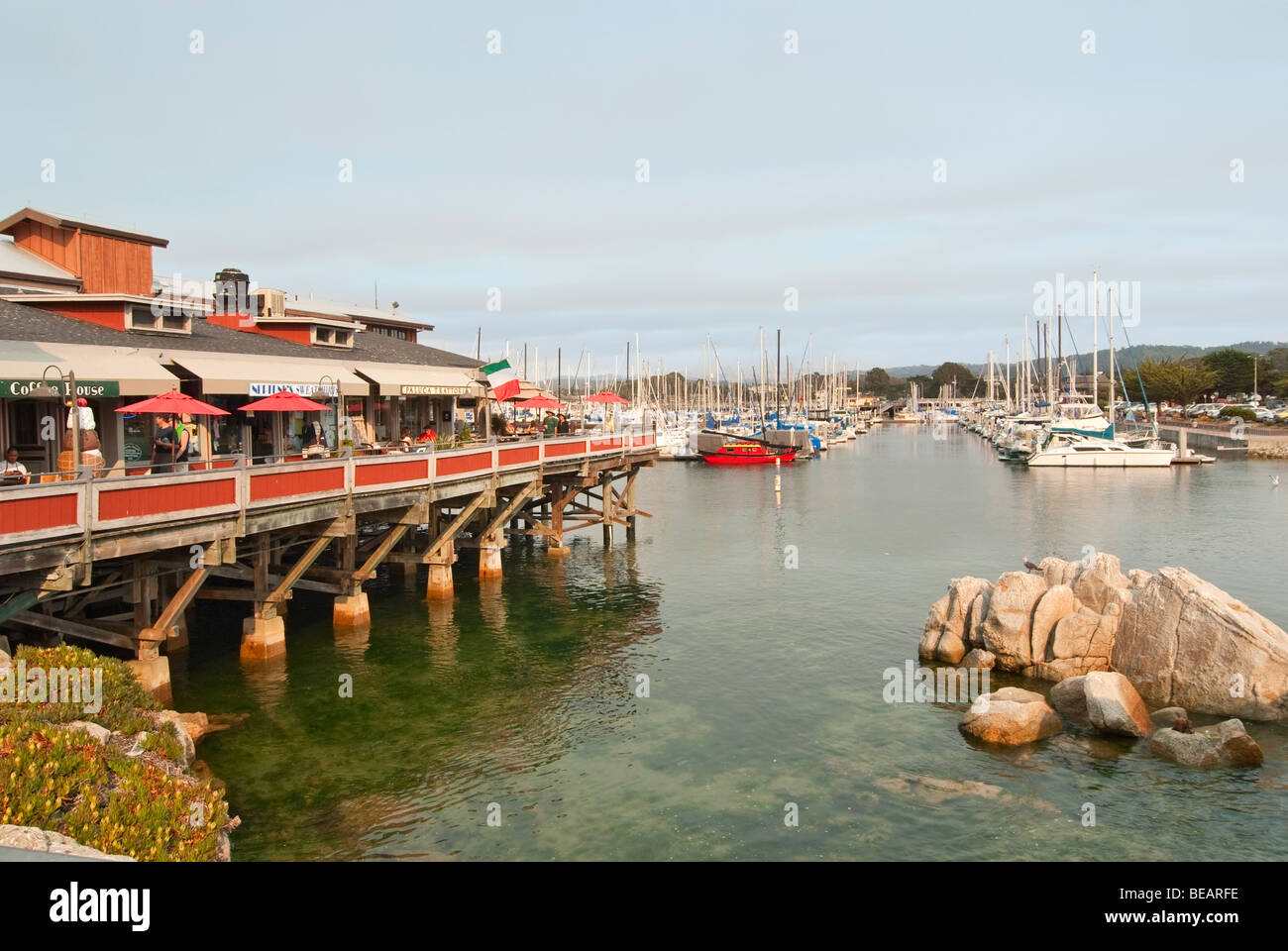 The Old Fisherman's Wharf at Monterey Bay, California - Stock Image