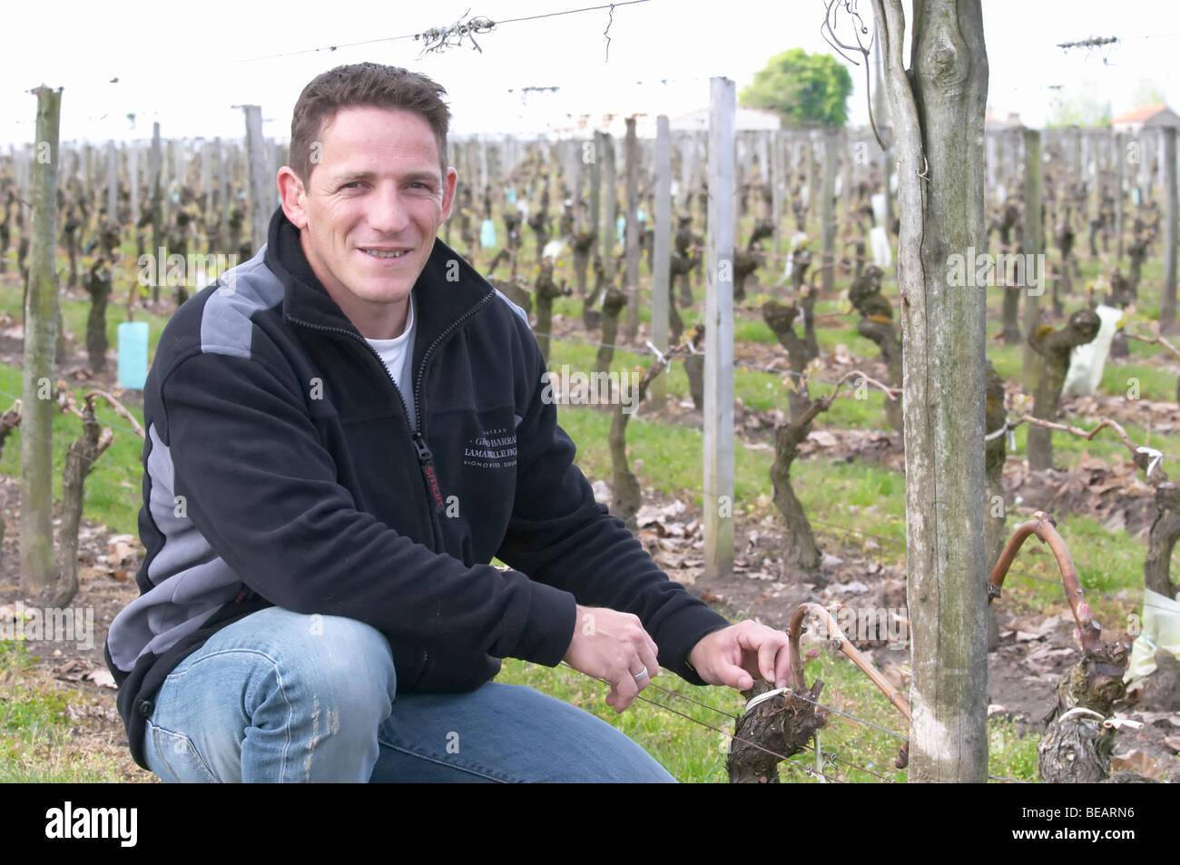 romuald hebrard winemaker ch gd barrail lamarzelle figeac saint emilion bordeaux france Stock Photo