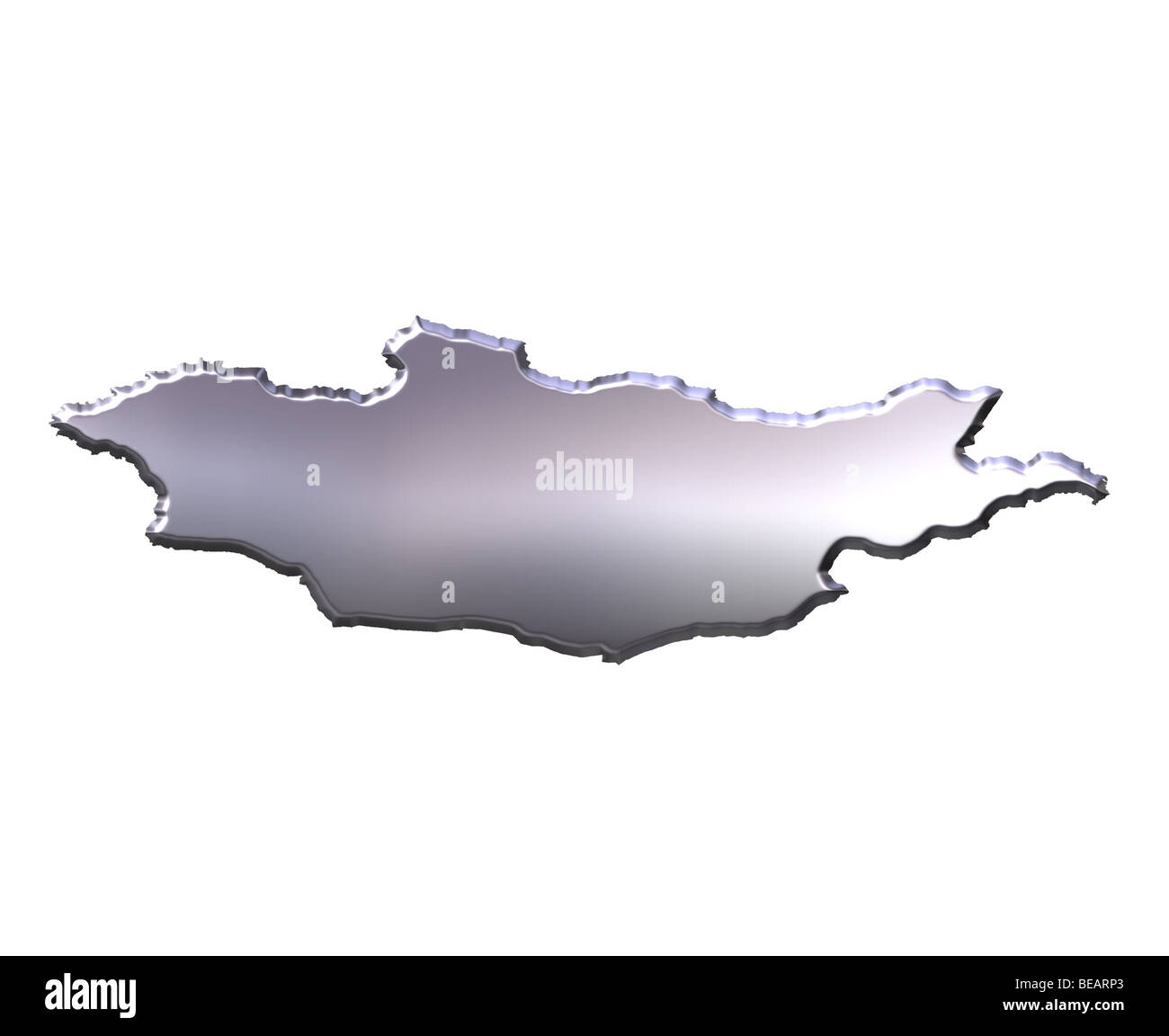 Mongolia 3d silver map - Stock Image