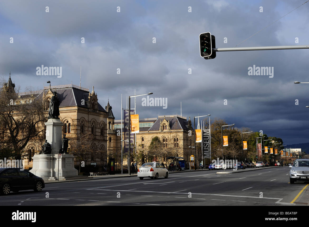 A view of North Terrace, Adelaide. The streets are wide and spacious and there are a lot of classically-styled buildings. - Stock Image