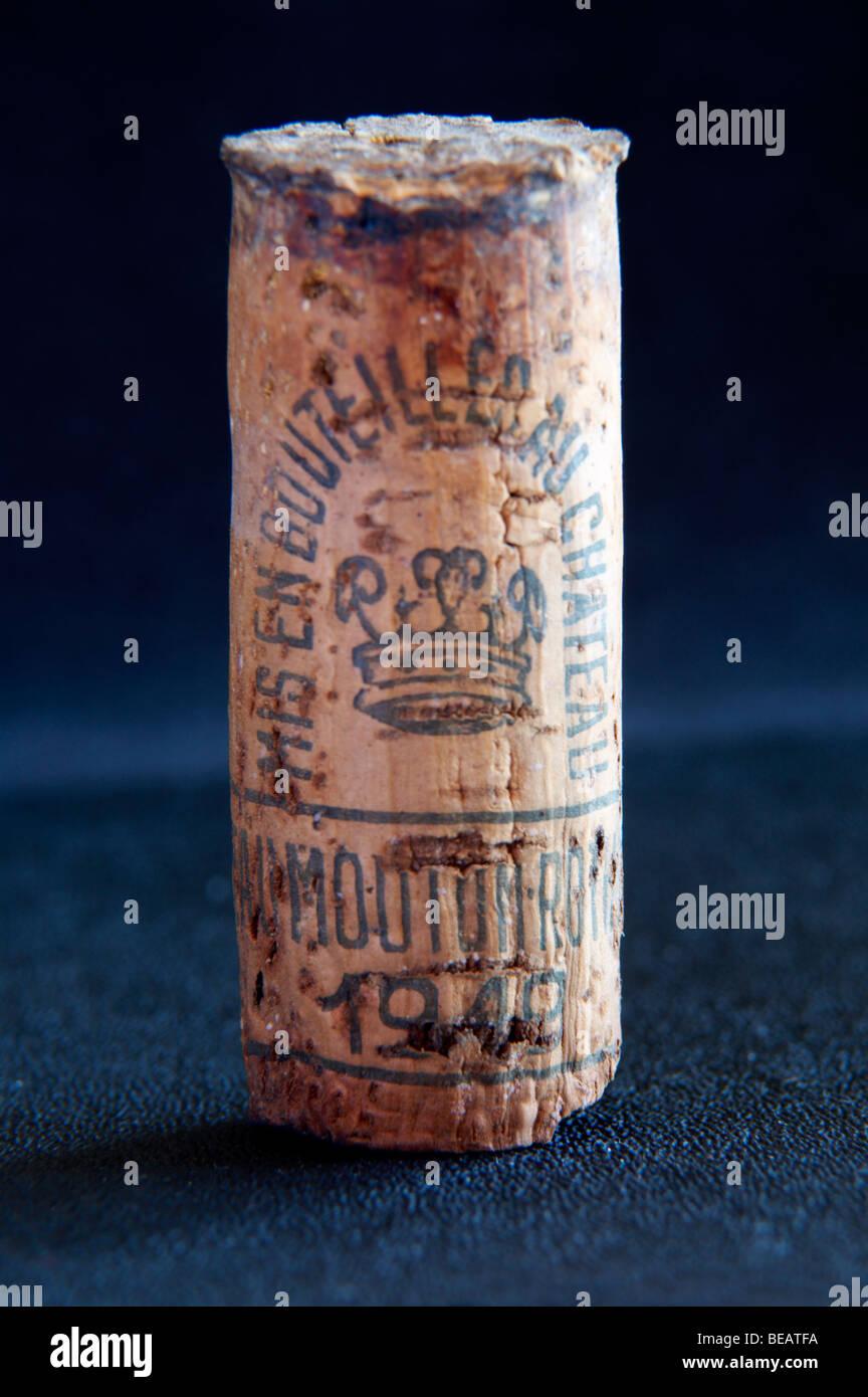 chateau mouton rothschild cork 1949 - Stock Image