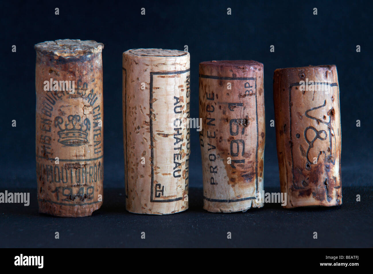 natural corks of different ages and lengths - Stock Image