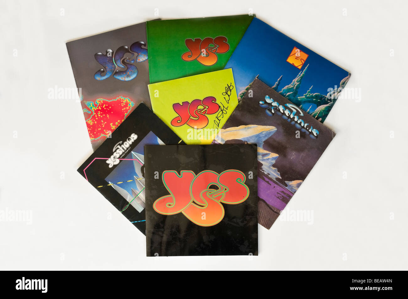 Collection of concert tour programmes by the rock group Yes - Stock Image