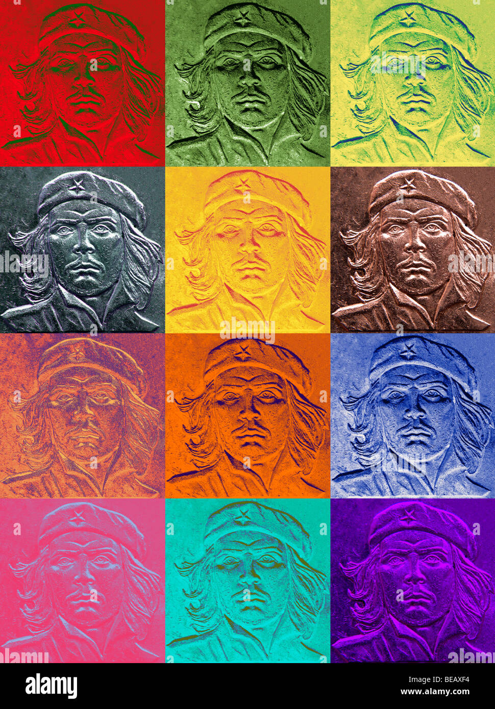 Original high resolution pop art collage of Che Guevarra. By Jamie Marshall. Large format - Stock Image