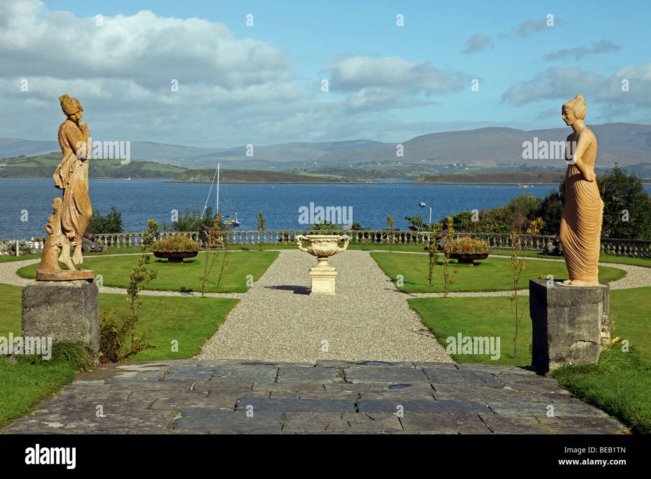 statuary in gardens of Bantry House, Irish stately home overlooking Bantry Bay - Stock Image