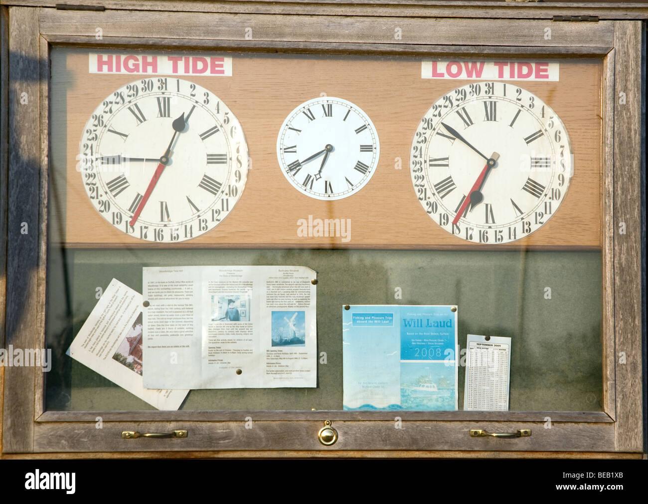 Tide clocks, Woodbridge, Suffolk, England - Stock Image