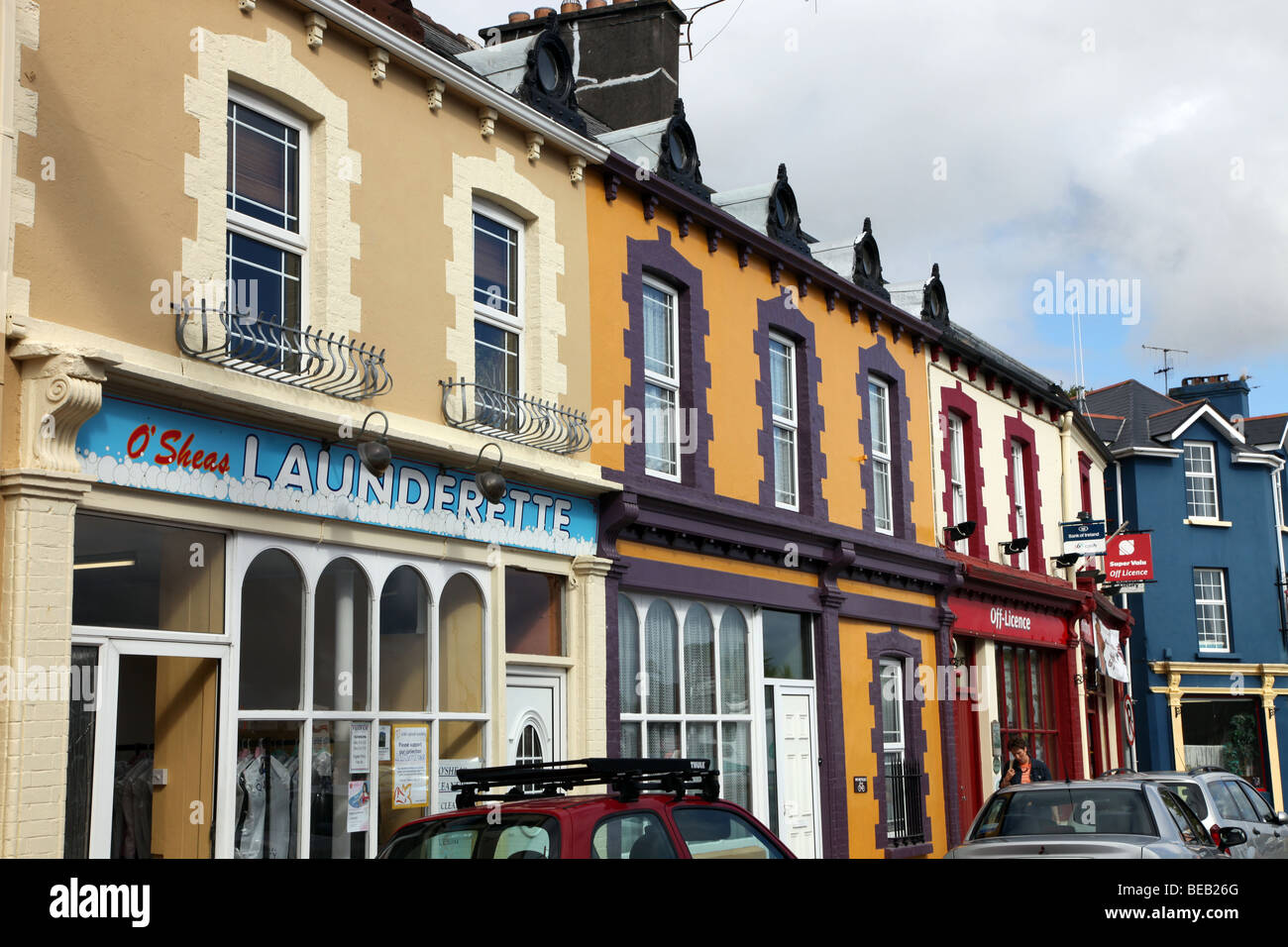 Castletownbere coloured shopfronts, Beara Peninsula, West Cork, Ireland - Stock Image